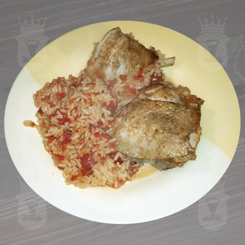 Куриные окорочка с рисом в томате